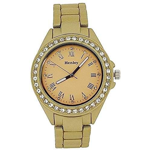 HENLEY Damen Armbanduhr mit Diamant besetzter Luenette und champagnerfarbenem Ziffernblatt, matt-goldenes, gummiertes Armband H072022