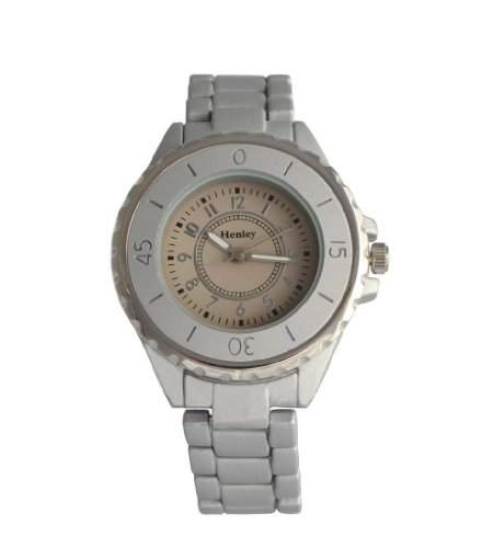 HENLEY Damen Armbanduhr mit champagnerfarbenem Ziffernblatt & matt-silbernem, gummiertem Armband H072061