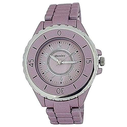 HENLEY Analoge Damen Armbanduhr mit matt-lilafarbenem Ziffernblatt & gummiertem Armband H072065