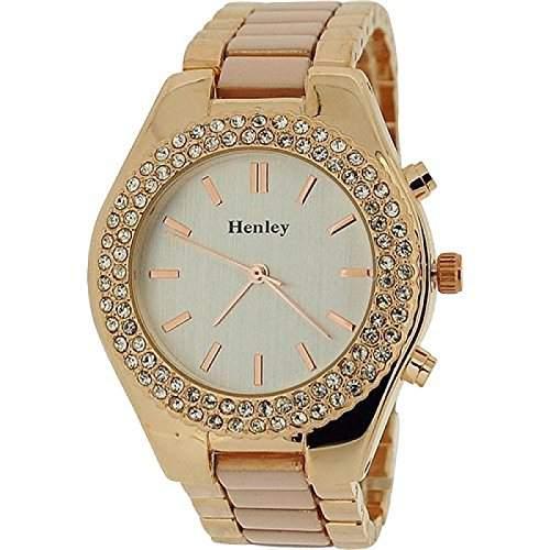 Henley Glamour Damenuhr, Kristallluenette, rosa & roségoldfarben H072275