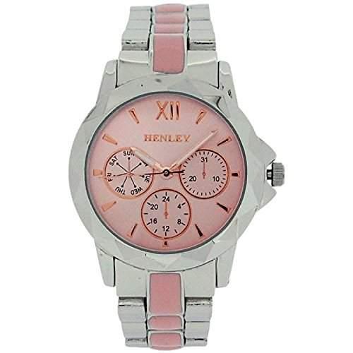 Henley Damen Chronoeffekt rosa & silberne Armbanduhr H0724715