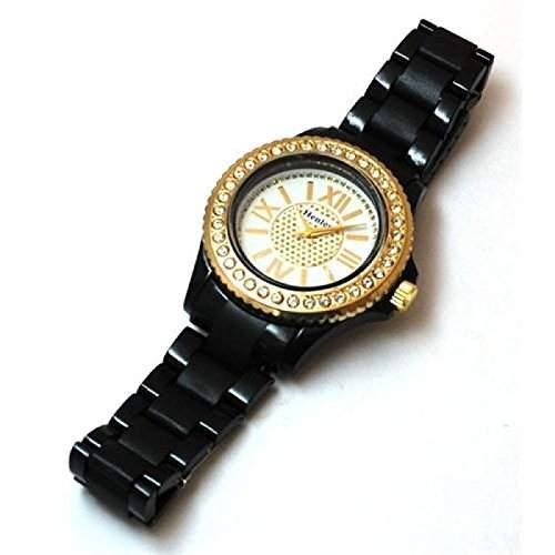 HENLEY GLAMOUR Schwarze Sportliche Bling -Damenuhr mit Armband