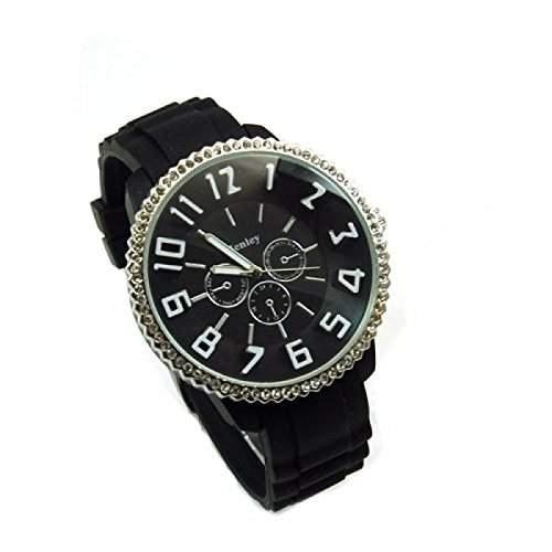 Henley glitzernde Sportuhr mit schwarzem Zifferblatt und imitierten Chronographen