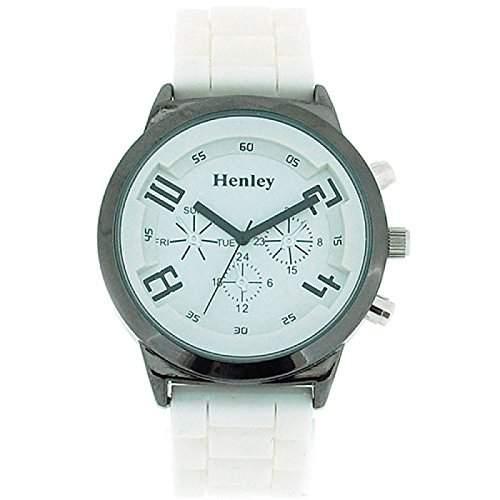 Henley Glamour Damenuhr mit weissem Zifferblatt und weissem Silikon Armband, Chrono-Stil H08823