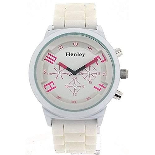 Henley Glamour Damenuhr mit magenta und weissem Silikon Armband, Chrono-Stil H08825