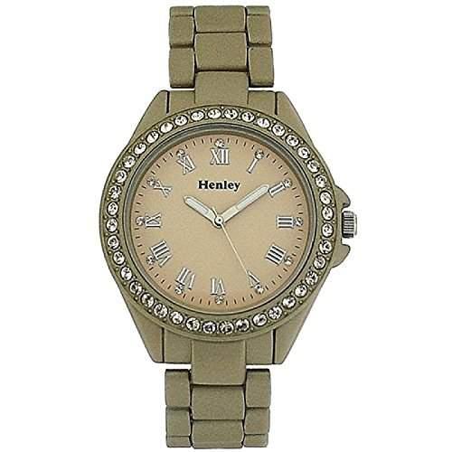 HENLEY Damenarmbanduhr mit Diamant besetzter Luenette und champagnerfarbenem Ziffernblatt sowie goldfarbenem, gummiertem Armband H0885