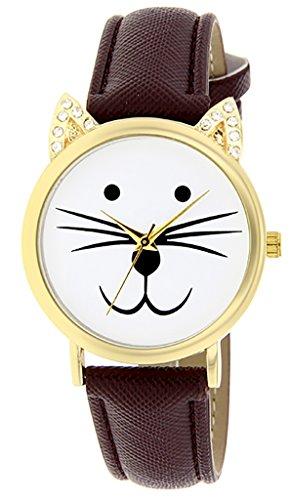 Catz a48552s 105 Maedchen Armbanduhr Analog Weisses Ziffernblatt Armband Leder braun