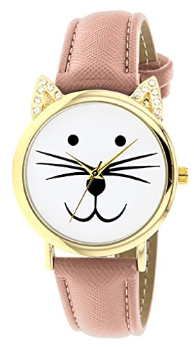 Catz a48552s 106 Maedchen Armbanduhr Analog Weisses Ziffernblatt Armband Leder rosa