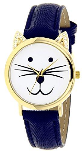 Catz a48552s 108 Maedchen Armbanduhr Analog Weisses Ziffernblatt Armband Leder marineblau
