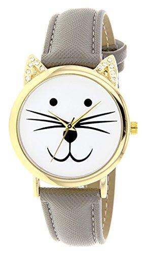 Catz a48552s 113 Maedchen Armbanduhr Analog Weisses Ziffernblatt Armband Leder grau