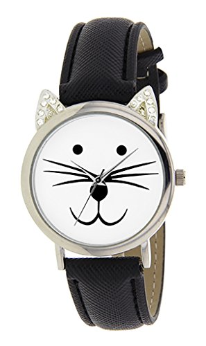Catz a48552s 203 Maedchen Armbanduhr Analog Weisses Ziffernblatt Armband Leder Schwarz