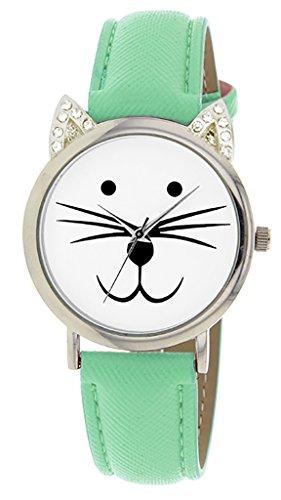 Catz a48552s 207 Maedchen Armbanduhr Analog Weisses Ziffernblatt Armband Leder gruen