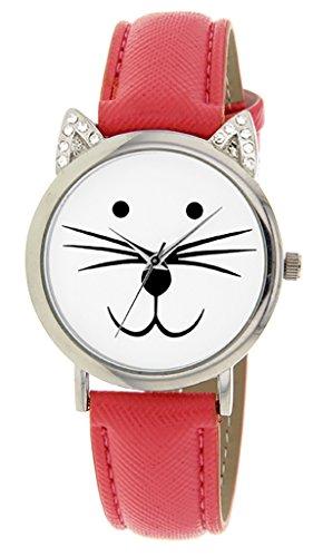 Catz a48552s 211 Maedchen Armbanduhr Analog Weisses Ziffernblatt Armband Leder Rot