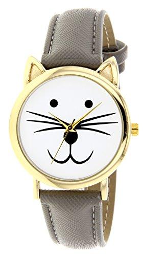Catz a48552 113 Maedchen Armbanduhr Analog Weisses Ziffernblatt Armband Leder grau