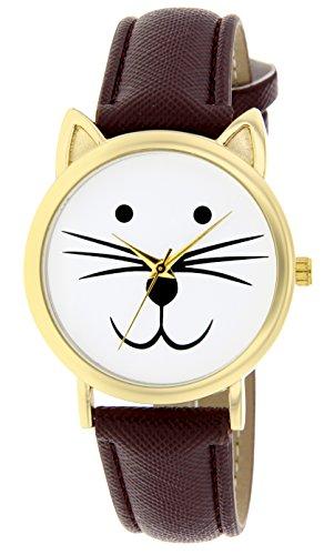 Catz a48552 105 Maedchen Armbanduhr Analog Weisses Ziffernblatt Armband Leder braun