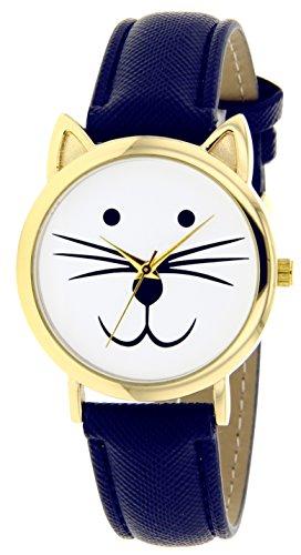 Catz a48552 108 Maedchen Armbanduhr Analog Weisses Ziffernblatt Armband Leder marineblau