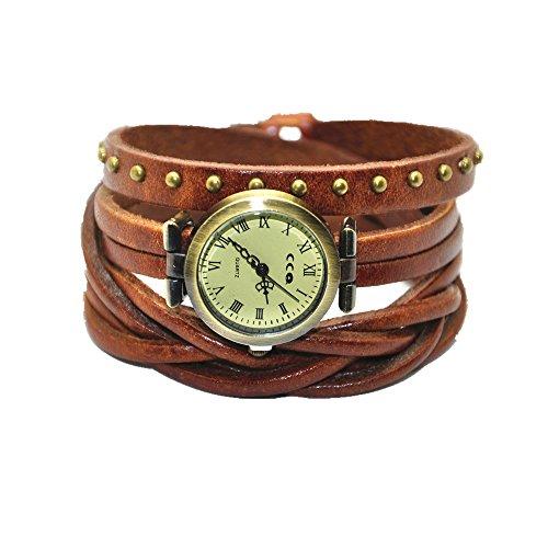 minilujia Armbanduhr Braun aus echtem Leder Wickelarmband Frauen Armbanduhr ST34