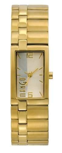 Mango Damen - Armbanduhr Analog Quarz Edelstahl Gold A68204D7I