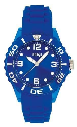 Mango Damen - Armbanduhr Analog Quarz Silikon Blau drehbare Luenette A68332-1B8KV