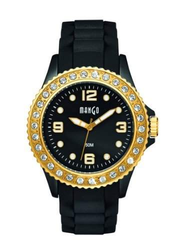Mango Damen - Armbanduhr Analog Quarz Silikon Schwarz A68336B5KV