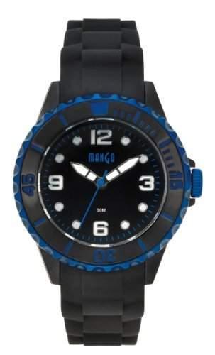 Mango Damen - Armbanduhr Silikon Analog Quarz - schwarz  blau A68353-1SS5KV