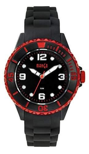 Mango Damen - Armbanduhr Analog Quarz Silikon schwarz  rot A68353-3SS5KV