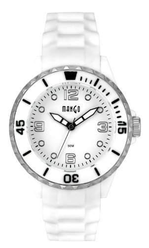 Mango Unisex-Armbanduhr Silikon Analog - weiss silber A68353H4P