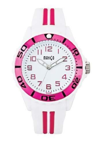 Mango Damen - Armbanduhr Analog Quarz Silikon weiss  Pink A68359-1H0A
