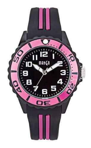 Mango Damen - Armbanduhr Analog Quarz Silikon Small schwarz  pink A68359-1SS5A