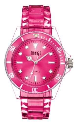 Mango Damen Armbanduhr Silikon Analog Quarz Pink A75101P14A