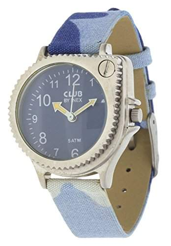 Club Kinder - Armbanduhr Militaer-Tarnung mit Lupe Blau 5 bar A65105S8A