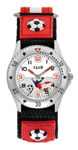Club Kinder - Armbanduhr Analog Quarz Jungenuhr Maedchenuhr Fussball Klettband Rot A56507S2A