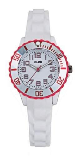 Club Maedchen-Armbanduhr Analog Quarz Silikon weiss  pink A56523-3S0A