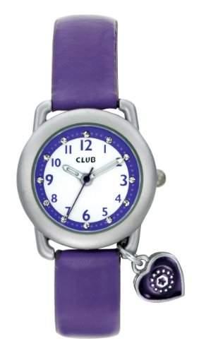 Club Maedchen - Armbanduhr Analog Quarz Violett mit Herz Anhaenger A56524S10A