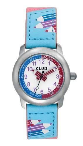 Club Maedchen - Armbanduhr Analog Quarz Textil Rosa  Blau