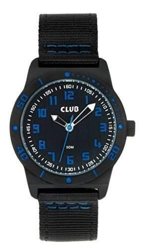 Club Jungen - Armbanduhr Analog Quarz 5 bar Schwarz  Blau Textilband A65162-1SS5A