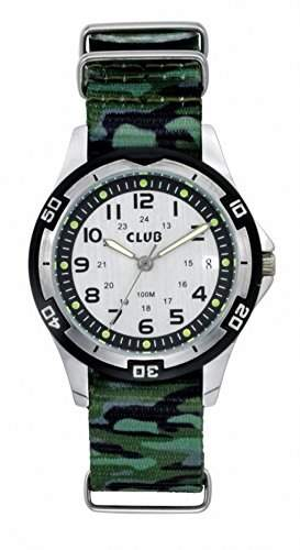 Club Jungen - Armbanduhr gruen Camouflage Analog Quarz Nylonband Kalender 10 bar A6517A