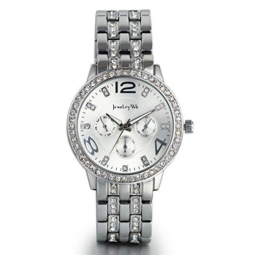 JewelryWe Luxus Elegant Business Casual Analog Quarz Uhr mit Edelstahl Strass Armband Silber