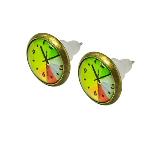 1 Paar schoene Ohrstecker in Uhrenform Uhr lelb orange tuerkis Ohrring gruen Zeiger Modell Modell 3