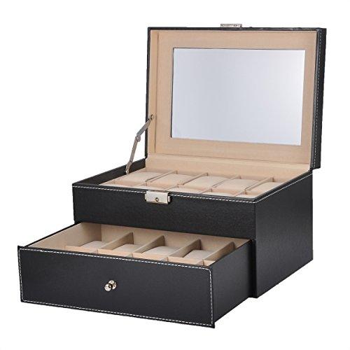 HooAMI Hochwertiger Uhrenkoffer Uhrenbox Uhrenkasten Schaukaesten Lederetui Fuer 20 Uhren Schwarz mit Glasfenster