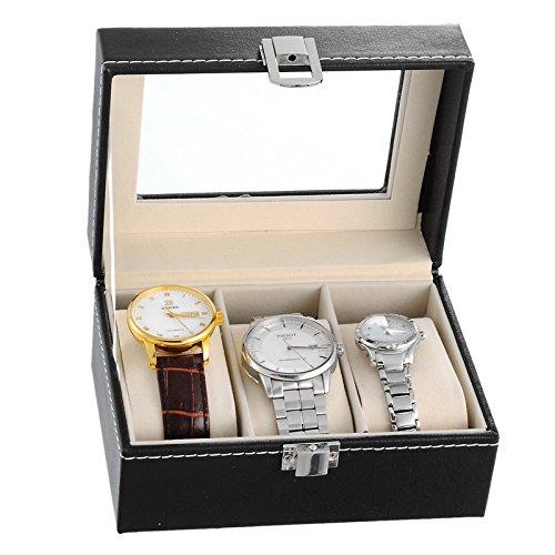 HooAMI Hochwertiger Uhrenkoffer Uhrenbox Uhrenkasten Schaukaesten Lederetui Fuer 3 Uhren Schwarz mit Glasfenster