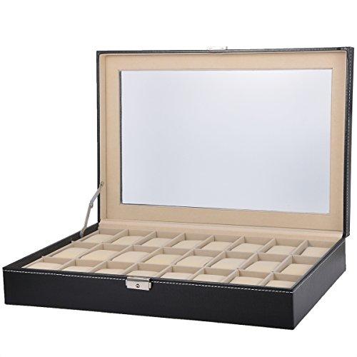 HooAMI Hochwertiger Uhrenkoffer Uhrenbox Uhrenkasten Schaukaesten Lederetui Fuer 24 Uhren Schwarz mit Glasfenster