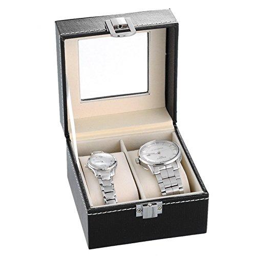 HooAMI Hochwertiger Uhrenkoffer Uhrenbox Uhrenkasten Schaukaesten Lederetui Fuer 2 Uhren Schwarz mit Glasfenster