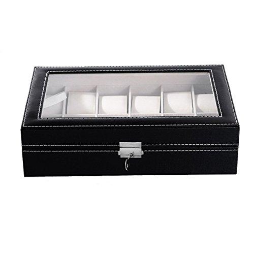 HooAMI Hochwertiger Uhrenkoffer Uhrenbox Uhrenkasten Schaukaesten Leder Fuer 12 Uhren mit Schnalle mit Glasfenster