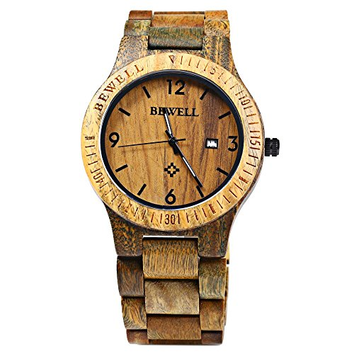 Bewell ZS W086B Maenner Holz Bangle Quarz Uhr mit Kalender Anzeige VERAWOOD