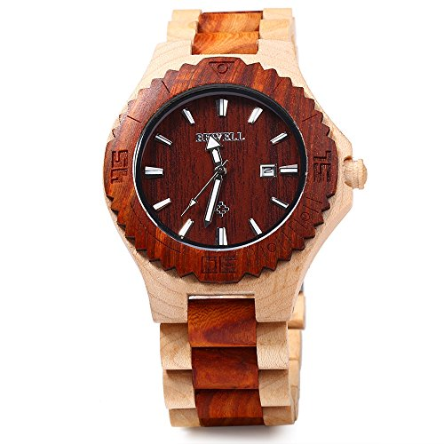 BEWELL ZS W023B Holz Quartz Watch fuer Maenner Datum Display leuchtende Zeiger Collection