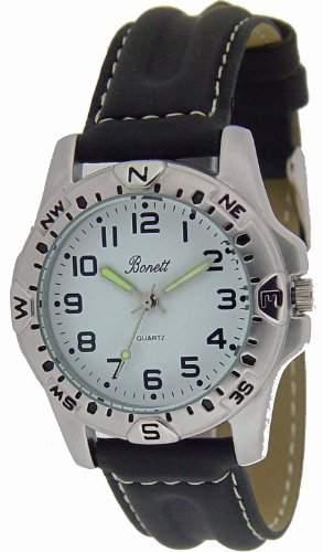 Bonett Jungen - Armbanduhr Jungenuhr Analog Quarz 5 bar Lederband 1225H
