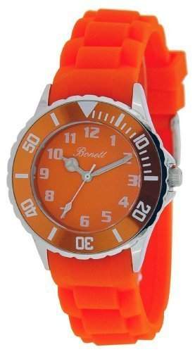Bonett Unisex - Armbanduhren Analog Quarz Silikon orange drehbare Luenette 1266O