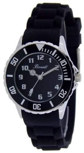 Bonett Maedchen - Armbanduhr und Jungen - Armbanduhr Analog Quarz Silikon schwarz drehbare Luenette 1266S