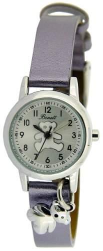Bonett Maedchen - Armbanduhr Analog Quarz mit Anhaenger Teddybaer 1267S